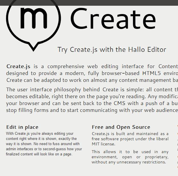 Create.js - biblioteka do edycji treści bez przeładowania strony