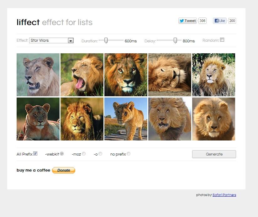 Liffect – generator efektownych list/galerii