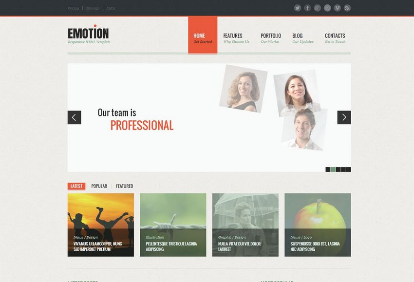Emotion - rozbudowany, kompletny szablon HTML5/CSS3