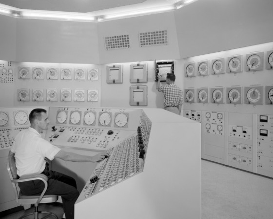 Bill Fecych and Don Johnson in control room in 1959.