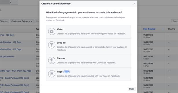 facebook page engagement custom audiences 4