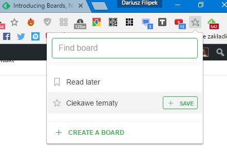 Rozszerzenie Save to Feedly Board