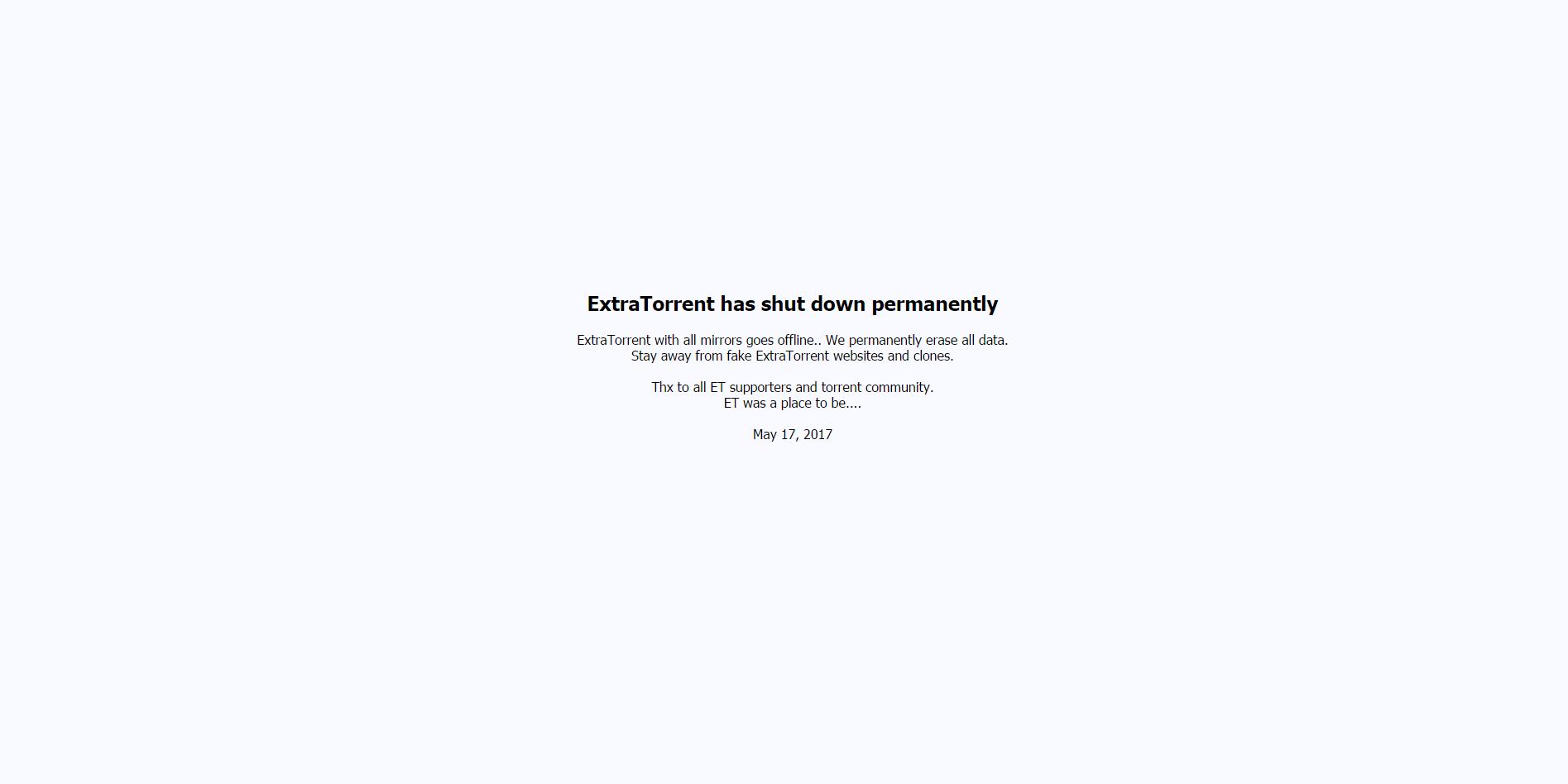 ExtraTorrent zamknięte