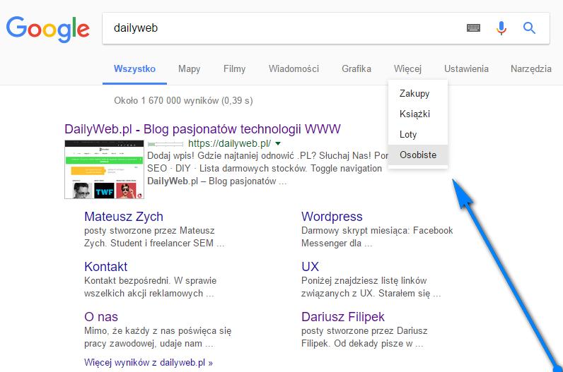 Przeszukaj Gmail i zdjęcia z poziomu wyszukiwarki