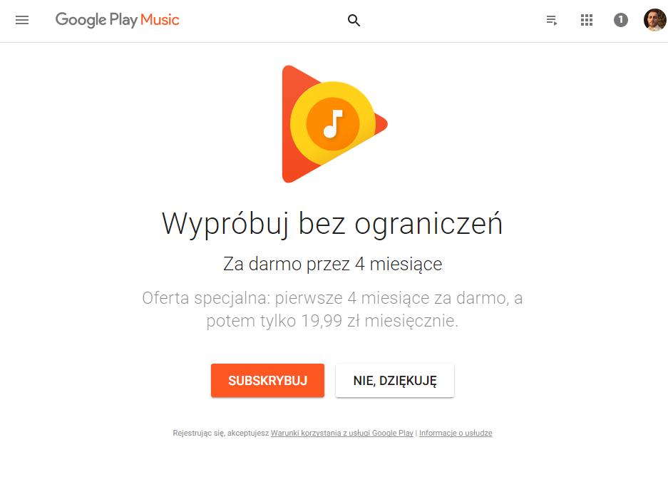 Google Play Music zadarmo przez4 miesiące