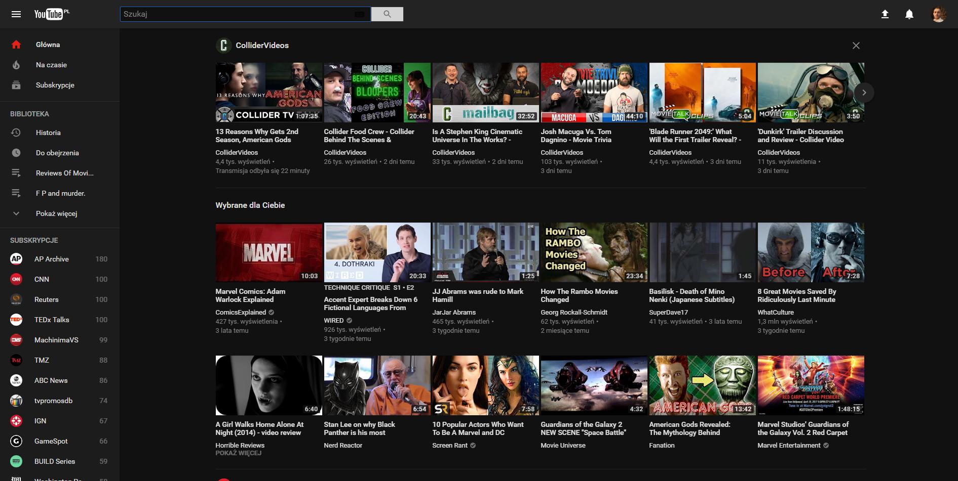 tak wygląda czarny youtube