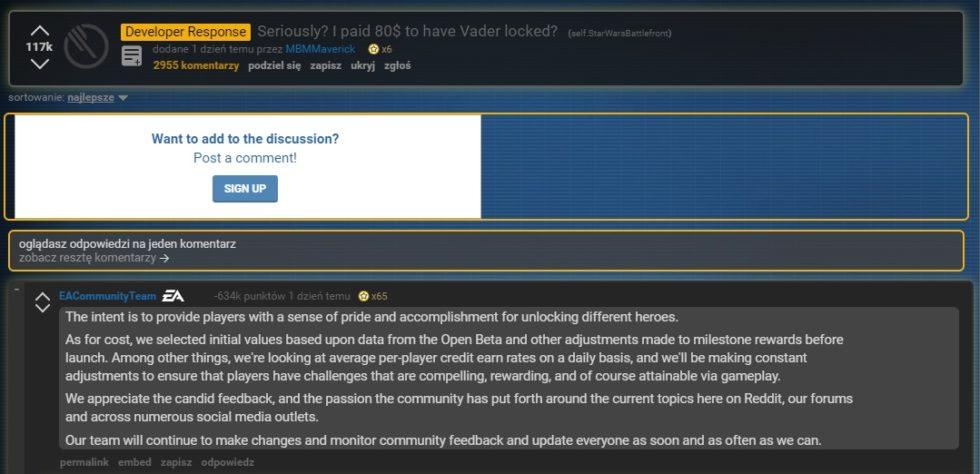 Komentarze na Reddit w sprawie Star Wars Battle Front II