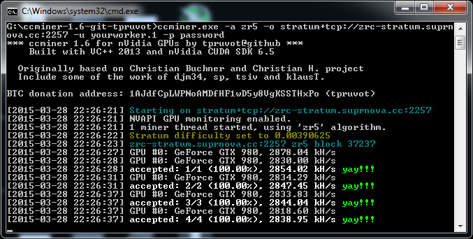 GPU miner screenshot
