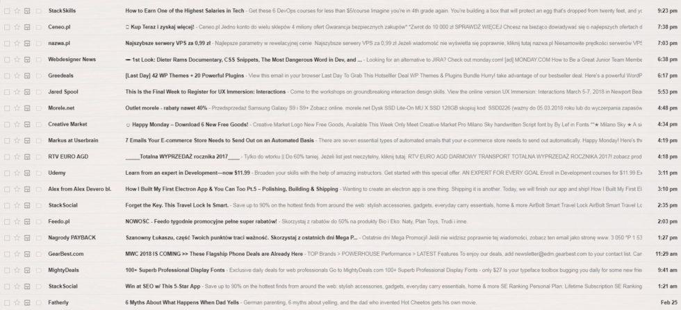 Gmail widok zakładki promocje - dużo SPAMu
