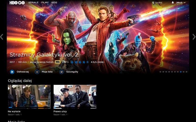 Interfejs serwisu HBO GO (wersja w przeglądarce) w polskiej odsłonie