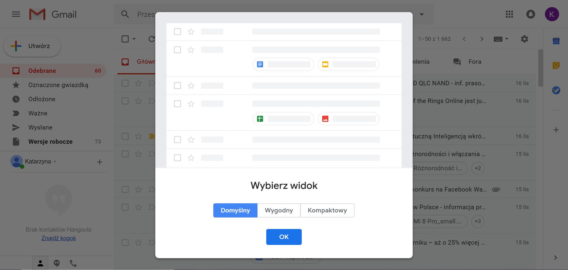 Gmail widok