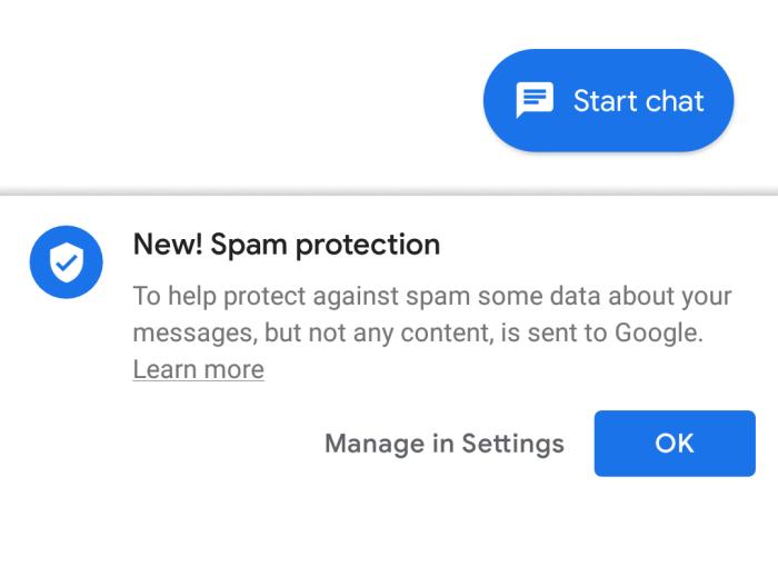 Google zabezpiecza przed spamem wiadomości