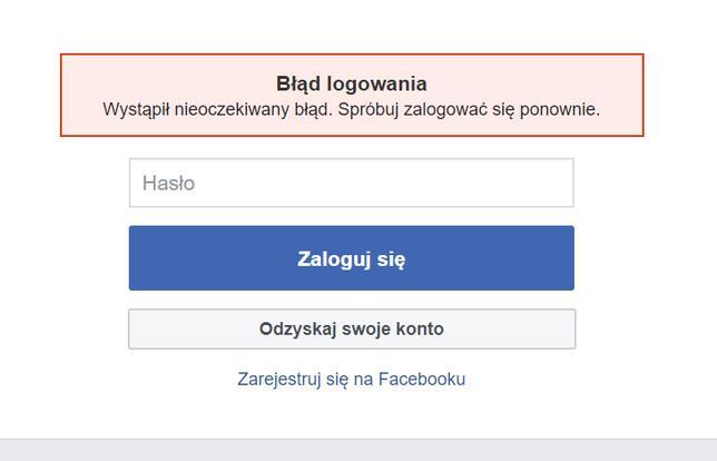 Awaria Facebooka - brak możliwości zalogowania