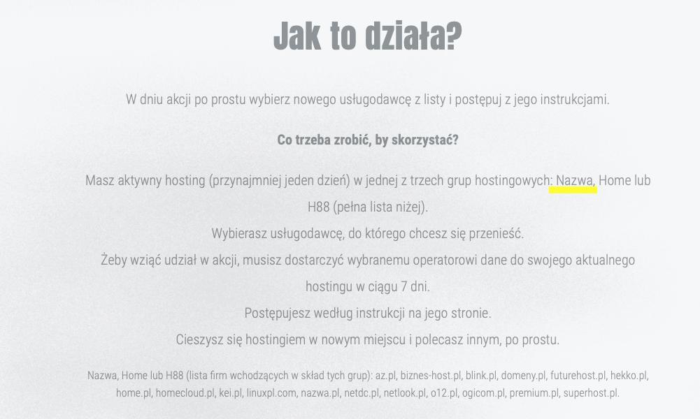 Fragment z serwisu https://moveyourhostingday.pl