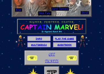 """Oldschoolowa strona internetowa promująca """"Captain Marvel"""" – piękno nostalgii lat 90."""