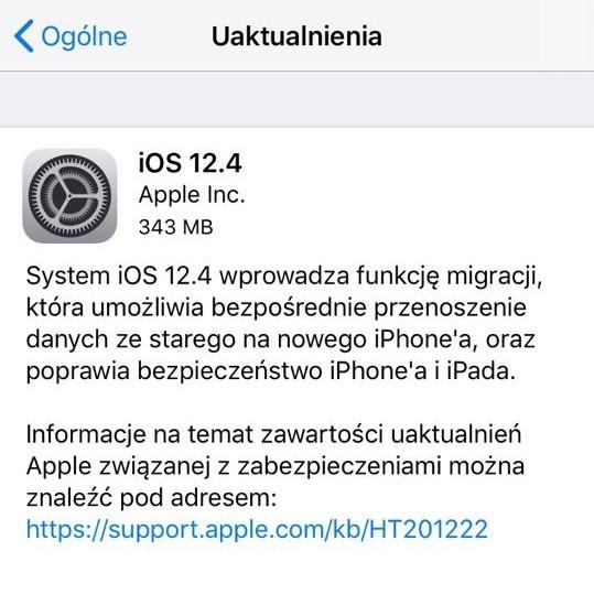 aktualizacja iOS 12.4