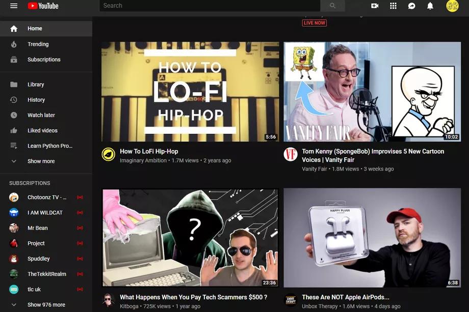 strony głównej youtube