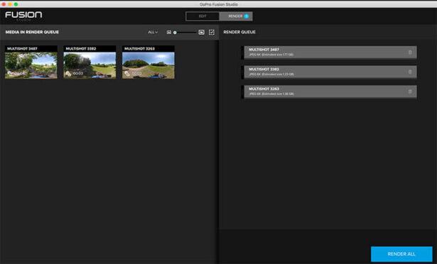 gopro fusion studio render queue