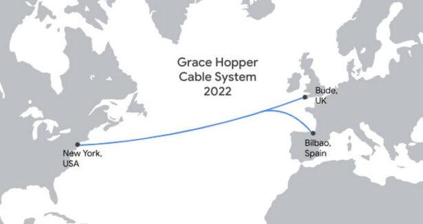 Mapa pokazująca przebieg kabla Grace Hopper