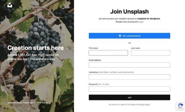 Unsplash rejestracja