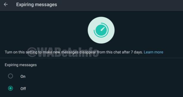Znikające wiadomości na WhatsApp