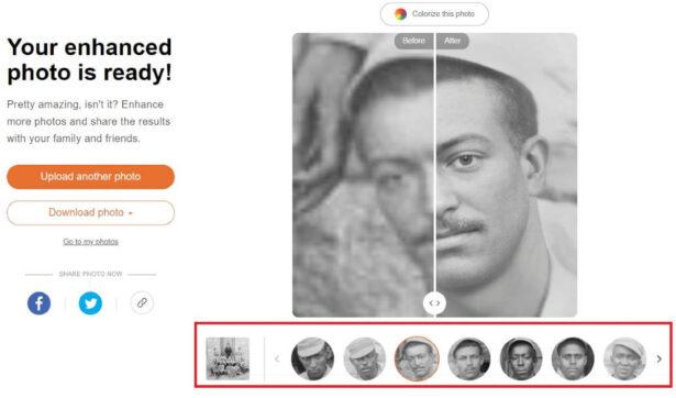 Usługa Ulepszanie zdjęć od MyHeritage