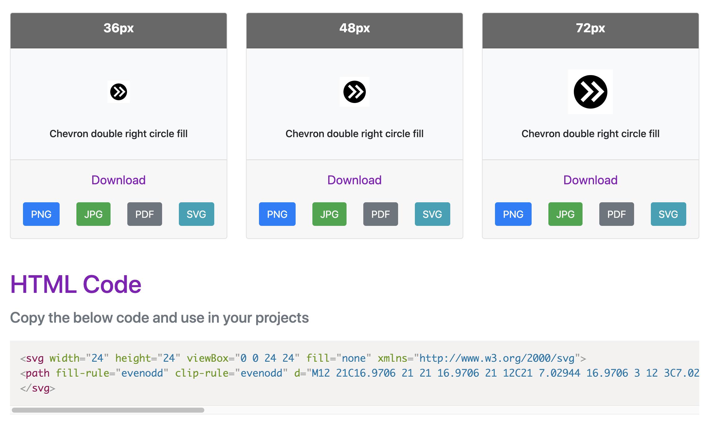 zrzut ekranu z kodem do zamieszczenia ikon na stronie