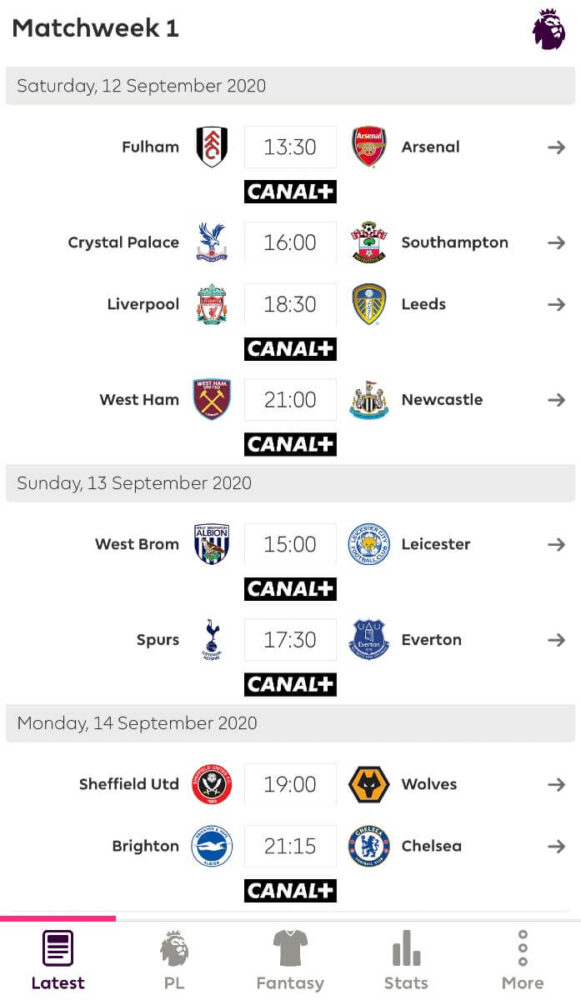 aplikacja premier league 2